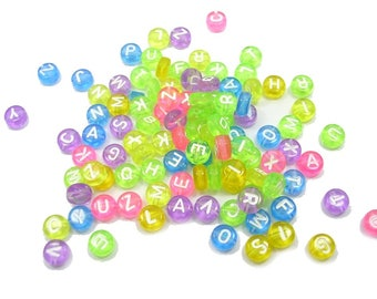 100 multicolored round transparent beads 7mm white letters