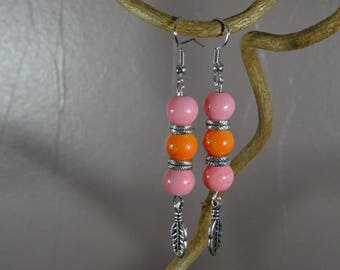 Earrings - feather charm-glass beads - pink - orange