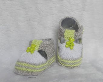 baby Teddy 0/3 month gray white lime green handknit baby wool