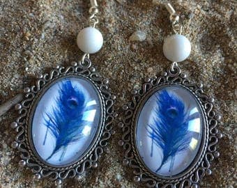 oval cabochon earrings Peacock feather effect