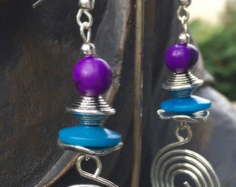 silver plated vegetable ivory, purple and blue earrings