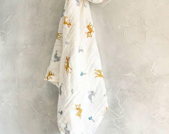 Swaddle baby little Bambi (#cerf) and rabbit