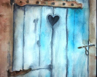 the blue door of friendship watercolors with a heart