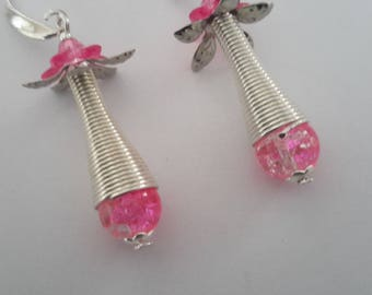 pink beads and silver cone earrings