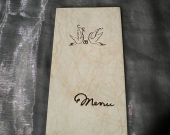 WEDDING MENU CARD DOUBLE DOVE AND ALLIANCE CHAMARE WHITE GOLD