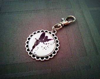 Aged Keychain Tinkerbell, Tinker Bell pattern black and white, silver 20mm glass cabochon