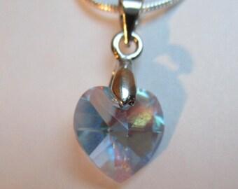 Pretty heart pendant Crystal Swarovski AQUAMARINE AB 10.3 x 10 mm
