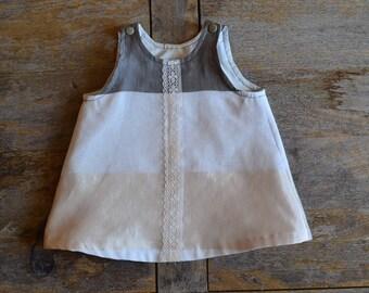 Baby girl, a line dress veil striped