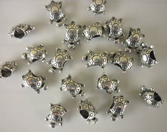 4 turtles silver metal spacer beads pandora style