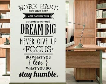 work hard wall sticker office wall decal decor for office removable vinyl