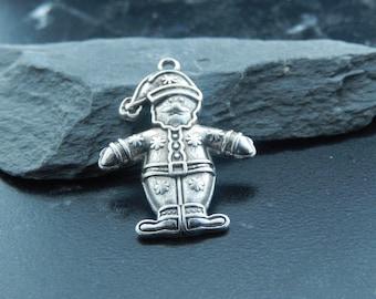 2Breloques Santa silver pendants