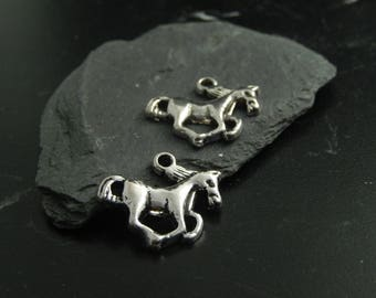2 silver metal horse charms
