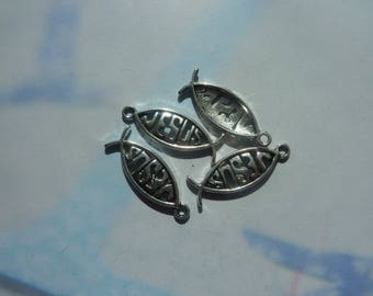 10 charms 25x10mm silver jesus fish pendant