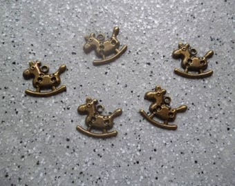 Bronze 5 metal rocking horse charms