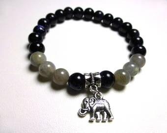 Midnight Blue Sunstone and labradorite bracelet