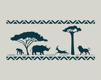 Safari stencil. Stenciled in Africa. Stencil animals from Africa. Lion stencil. (ref 246)
