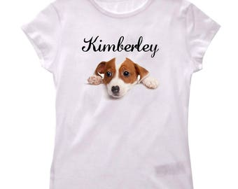 Jack Russell personalized with name girl t-shirt