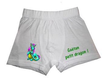 White dragon boy shorts personalized with name