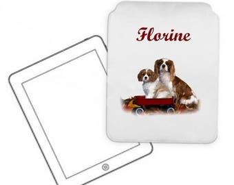 Cover for tablet pc Cavalier king charles personalized with name