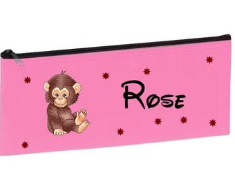 Kit school pink monkey personalized with name