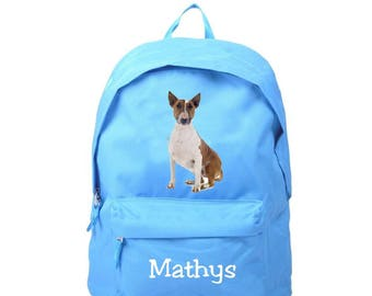 bag has blue bull terrier personalized with name