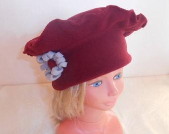 Hat girl in Burgundy and gray flower pattern fleece