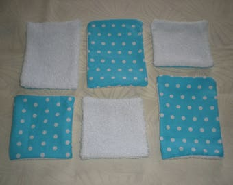 set small and large wipes - turquoise blue with polka dots