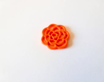 3 charms flower 16mm orange neon 16 (SFBC03)