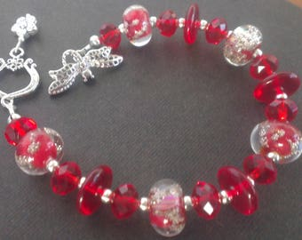 Red passion bracelet glass beads