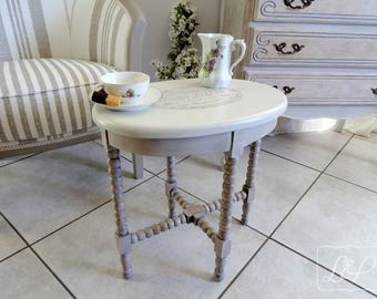 "Oval pedestal restyled and weathered linen: ""pastry Tearoom."
