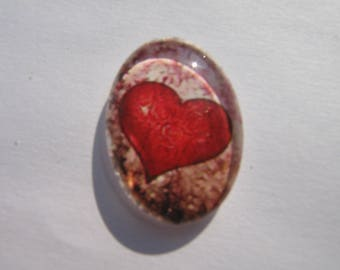 Cabochon 25 X 18 mm oval with red heart image