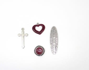 Vintage cross, heart, Locket, drop, charm silver, Burgundy
