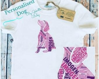 Personalised Dog Name Kids & Baby  Birthday Gift T-shirt, One-piece, Romper, Bodysuit, Onesie, Custom Made Print