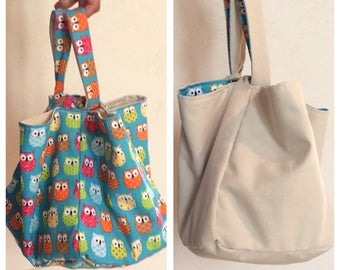 OWL patterned reversible lunch bag