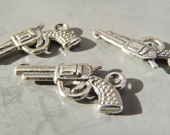 6 charms pendants pistol Revolver 22 x 12 mm - silver