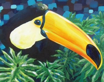 "BIRDS - Acrylic painting on canvas: ""élégant Toucan"""