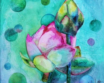 Watercolor on canvas: Lotus