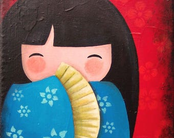 Acrylic painting on canvas: Sayuri in red and blue (kokeshi)