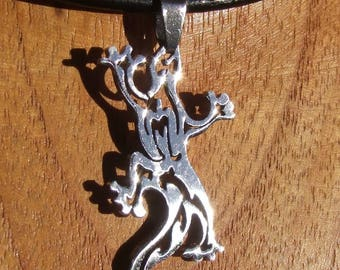Black leather necklace and pendant crafted in shiny silver color stainless steel Gecko