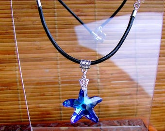"Long leather necklace, Bermuda Blue ""Starfish"" Swarovski sea star and Crystal multi lights Czech Crystal beads"
