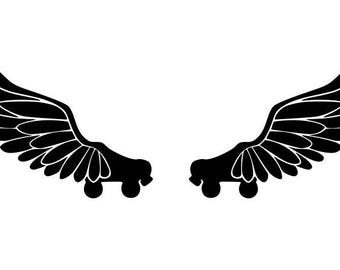 """Roller derby quad wings"" stickers"