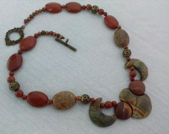 Red Jasper necklace, Jasper Picasso, stone gems, natural stones, bronze, rustic, hippie necklace, boho