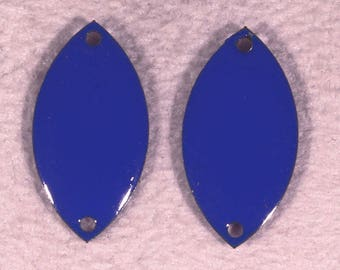 sequins 2 oval enameled blue connector brass 18x10mm
