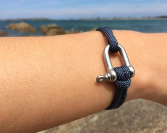 Bracelet - Paracord - knots sailors - Britany - stainless steel shackle