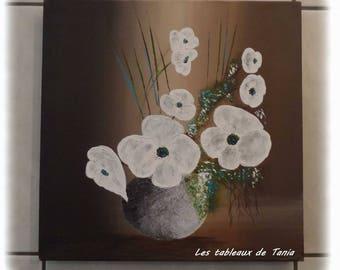 Painting acrylic white flowers