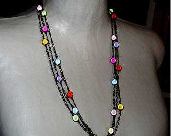 Necklace with beads colorful magic necklace 3 rows bronze multicolored summer necklace summer jewelry on etsy