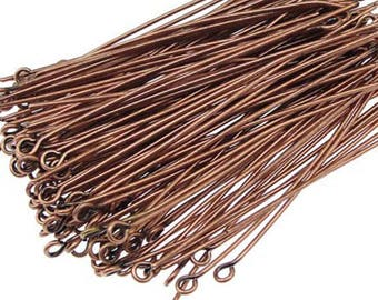 Set of 200 30mm copper eye pins
