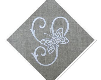 EMBROIDERED MONOGRAM LETTER - S - ADORNED WITH A BUTTERFLY