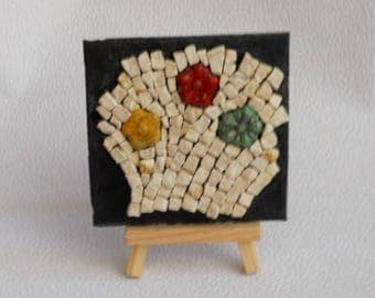 "Mini mosaic picture ""3 flowers"" - to put natural stones - flowers raku - slate holder - mini wood easel"