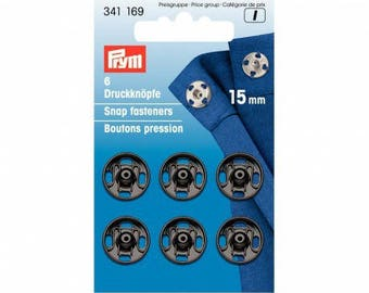 6 snap buttons black 15mm PRYM sewing